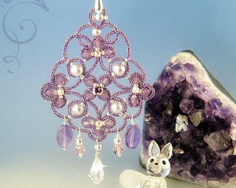 Olympea earrings , needle tatting kit and pattern