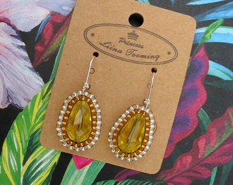 Yellow Summer Princess teardrop earrings: handmade jewellery with silver-plated hooks