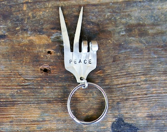 """Stamped Fork Key Ring, """"Peace"""" Bent Fork Key Chain, Peace Sign Repurposed Silverware Key Ring, Silver Key Chain, Silver Gift For Men/Women"""