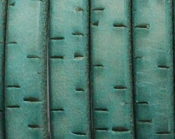 TURQUOISE BARK - Regaliz 10 x 6mm Oval Leather Cord - intended for use a component for leather bracelets