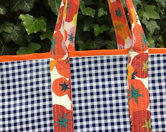 Farmers' market special---large reversible oilcloth tote