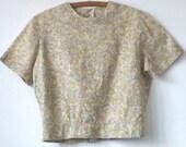 Vintage Cotton Crop Blouse • Back Button Mid Century Cotton Top