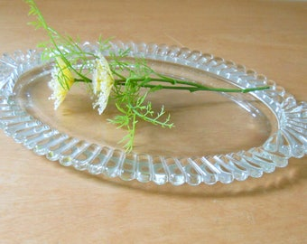 Vintage Clear Glass Dresser Tray • Deco Oval Glass Display Tray