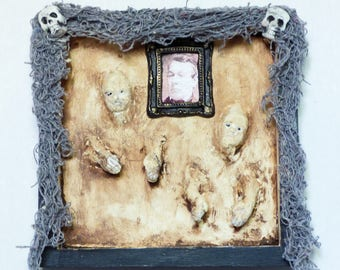Gothic Wall Art - Creepy Wall Art - Creepy Doll Art - 3D Wall Art - Mixed Media Art