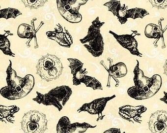 Under A SPELL Halloween Fabric Allover Cats, Hats, Crows, Skulls by Jennifer Pugh 82511 191