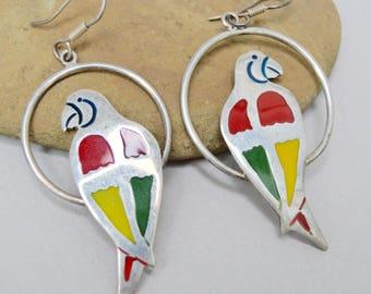 Vintage Enamel Parrot Earrings. Sterling Silver . Wings . Pierced Dangle Earrings . 1960's