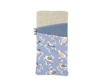 iPhone X Phone Case, Cute Blue Bird Phone Sleeve, iPhone 8 Plus Cover, Soft Fabric iPhone 7 Case, SE Phone Sleeve, Bird Lover Gift