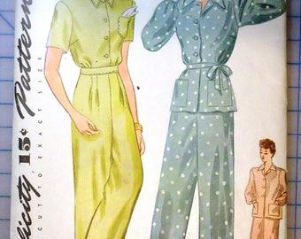 Simplicity 1078 - 1940s Vintage Sewing Pattern - Ladies Two-Piece Pajama - 1944
