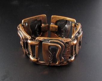 Rebajes Kiss Bracelet, Rebajes Bracelet, Copper Bracelet, Rebajes Copper, Mid Century Modern Jewelry, Modernist Bracelet, Modernist Jewelry