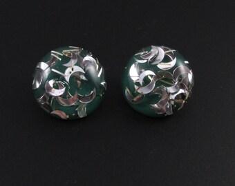 Confetti Lucite Earrings, Green Earrings, Confetti Earrings, Lucite Earrings
