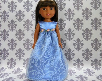 14.5 inch doll clothes to fit Wellie Wishers 14.5 inch doll clothing READY TO SHIP Blue Fancy Gown Dress, 09-2324