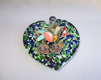 Hand Blown Art Glass Jewelry Dish and Holder, Heart Shape.