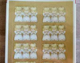 Vintage Hallmark Christmas Card Seals Stickers Child Christmas Angels Sealed Package of 32 Stickers