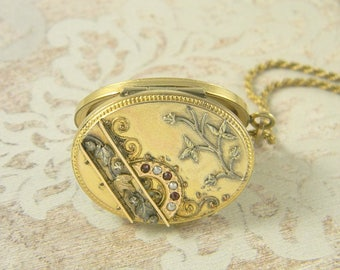 Antique Victorian Etruscan Seed Pearl Locket Necklace, Gold Filled Locket Necklace, Large Oval Locket, Crescent Garnet Locket, Vines 1880s