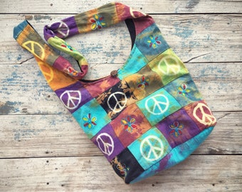 Vintage peace sign shoulder bag in turquoise purple, hippie bag, ethnic cross body hobo bag slouch bag, festival tote purse, back to school