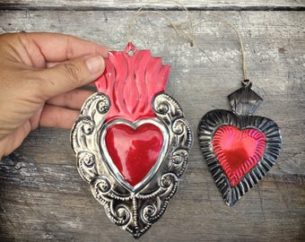 Set of two vintage Mexican tin ornaments of Sacred Heart Christmas decor heart milagros