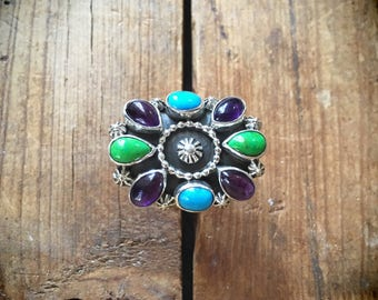 Size 8 multi-stone turquoise ring with amethyst and gaspeite Native American Indian jewelry