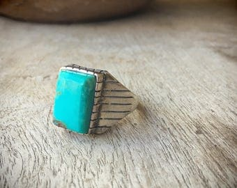Men's Ring Size 11 Sterling Silver Turquoise Jewelry, Native American Ring, Turquoise Ring, Men's Jewelry, Gift for Men, Gift for Dad