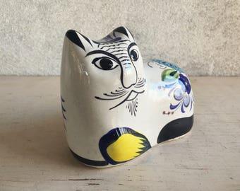 Tonala Cat Figurine Mexican Pottery, Tonala Mexico Folk Art, Tonala Pottery, Cat Lover Gift