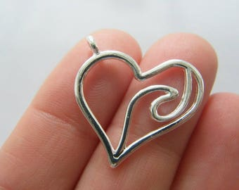 BULK 20 Wave heart charms silver plated tone SC138