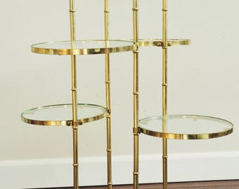 Hollywood Regency Faux Bamboo Gold & Glass 5 Tier Stand-Vtg Brass Tiered Stand
