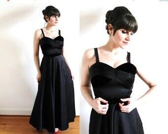 ON SALE 1950s Gown / 50s Dress / 50s Black Satin Velvet Party Dress Ball Gown