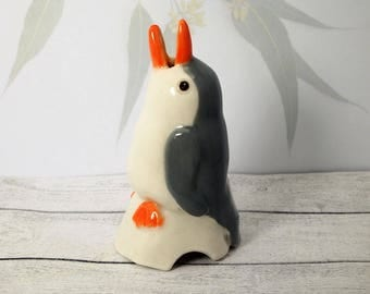 Grey Penguin pie bird ceramic pottery figurine sculpture pie funnel flute Australian pottery Anita Reay AnitaReayArt