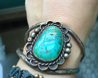 Turquoise Cuff - Sterling Silver - Native American - Harvey Era - Vintage