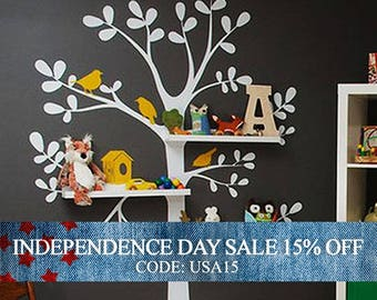 Independence Day Sale - Wall Decals Nursery - The Original Shelving Tree Wall Decal - Nursery Decor