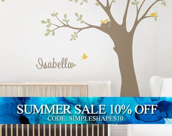 Ceiling Tree with Birds and Nest Wall Decal, Baby Nursery Tree Wall Decal, Birds and Nest Wall Decal