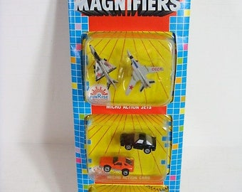 Micro Action Magnifiers Micro Cars Airplanes Miniature Toy Cards Airplanes 1989