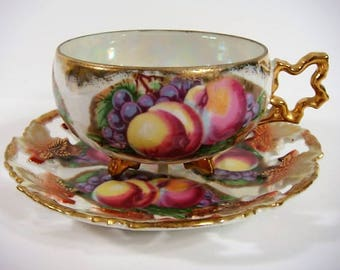 Royal Sealy Tea Cup and Saucer Peaches Grapes Leaves Collectible Tea Cup and Saucer Royal Sealy