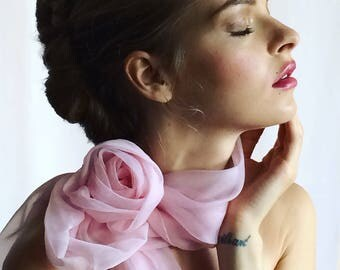 NEW Long Silk Scarf with detachable Rose brooch/Long pink scarf/Head scarf/Hair scarf/Designer scarf/Haut couture/Luxe silk/marinaasta