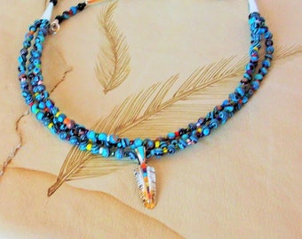 Native Style 3 Strand Multicolor Necklace Sterling Silver Feather Pendent Charms Artisan    Free Shipping in the USA