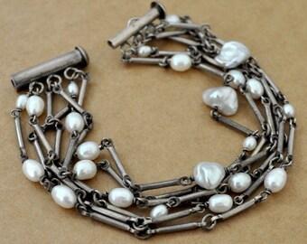 VINTAGE FIND large sterling silver pearl bracelet, old silver, antique silver, multiple chain bracelet, stacking bracelet,