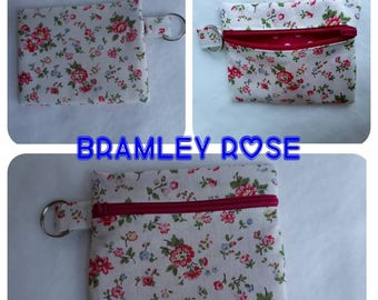 CATH KIDSTON Bramley Rose fabric Zippered (Zipped) Earphone (Ear bud) pouch/ Coin Purse Make Up, small brushes, Gift Keyring handbag tidy