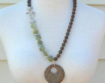 SALE - 50% off, Unique Asymmetrical Necklace, African Swazi Leaf Pendant, Green Garnet Leaf Beads, Sterling Bird Clasp, Set by SandraDesigns