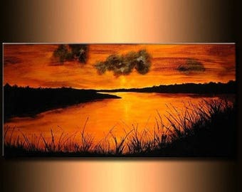 Landscape painting River Sunset Fine Art On Canvas by Henry Parsinia 48x24