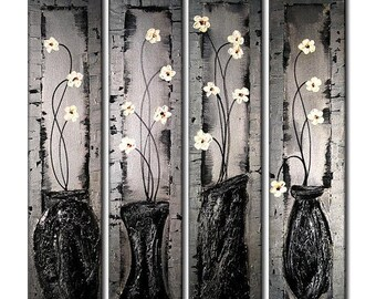 Contemporary Textured Palette Knife Silver Floral Metallic Painting by Henry Parsinia Large 32X36