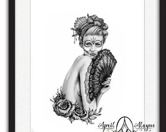 Sugar skull 2- illustration- Skull- Black and white- Print-portrait- woman- fan- lace