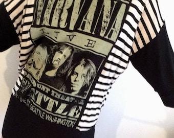 Over size Sweat Shirt Style Nirvana T-Shirt Dress 1990's