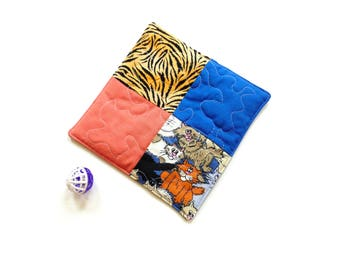 Cat mat, catnip toy, quilted mat pillow, cat quilt, small square mat toy, cat birthday gift