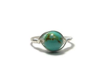 25% Off Sale LG Turquoise Magnesite Argentium Sterling Silver Wire Wrapped Ring