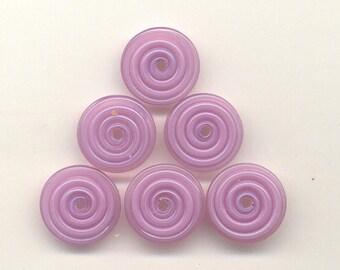 16mm range, Tom's lampwork veiled lilac purple-pink 2 disc spacer/drop set, 1 pair 95785
