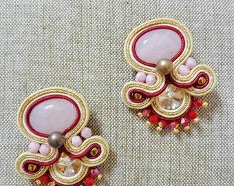 boho Rose marsala earrings,Soutache Earrings, chandeliers, soutache costume jewelery, fiber art gift for her, embroidered earrings