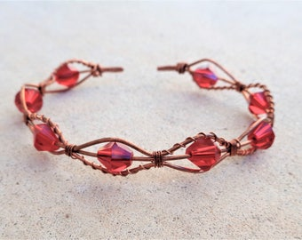 Copper Wire Wrapped Red Beaded Cuff Bracelet By Distinctly Daisy