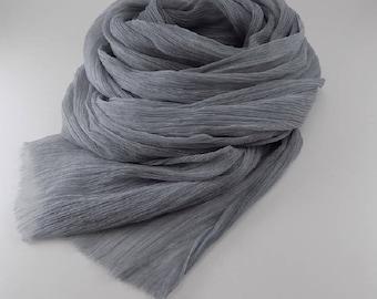 Handmade Silk Scarf / Melange --- Light Gray