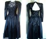 Vintage 80s Party Prom ~ black lace ~ black sequins ~  By Roberta ~ Vintage 80s dress~80 dress~goth dress