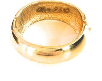 ALEXIS KIRK Gold Hinged Cuff RARE