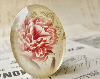 Pink peony flower, handmade glass oval cabochon, from our Fabulous Florals collection, vintage flower 40x30mm 30x40mm 40x30 30x40 40mm 30mm